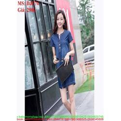 Đầm jean suông kiểu dáng đơn giản có túi phong cách DJE74