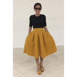 Chân váy công sở xếp ly - hàng may thiết kế Hanhfs.com