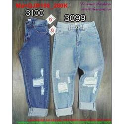 Quần jean rách nữ hai màu xanh nhạt và đậm thời trang QJR198