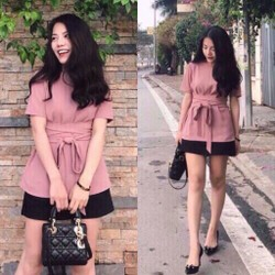 Set váy xoè áo cột eo _MỎ CHU SHOP