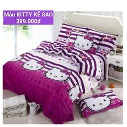bộ ga gối cotton Hàn Quốc mèo con ngộ nghỉnh loại tốt