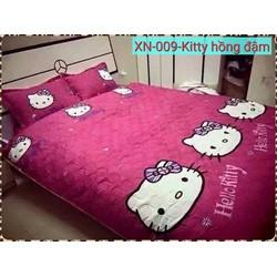 xã kho 2 ngày bộ ga gối cotton Hàn Quốc mèo kitty đáng yêu loại tốt