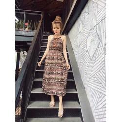Đầm maxi nữ họa tiết thổ cẩm