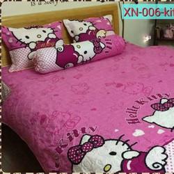 bộ drap cotton cao cấp hàn quốc loại tốt mèo hồng đáng yêu