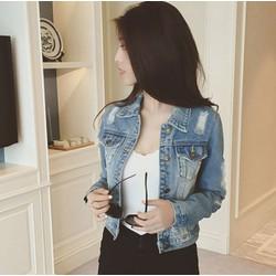 Áo khoác jean nữ kiểu tay rách thời trang