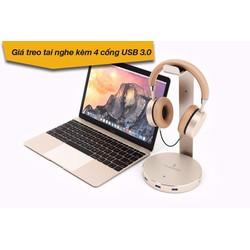 Hub USB 3 Cổng 3.0 và 1 Jack 3.5 Kèm giá treo tai nghe