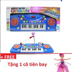 Đàn Organ điện tử màu hồng kèm micro cho bé tặng kèm 1 cô tiên bay