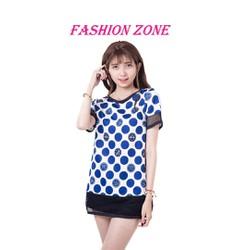 Áo nữ dáng dài chấm bi tròn xanh hiện đại phong cách Hàn Quốc