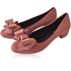Giày búp bê gót vuông đính nơ