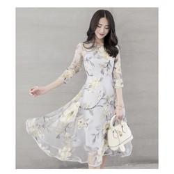 Đầm hoa voan kính hàng cao cấp y hình