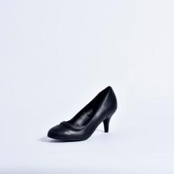 Giày cao gót bit mũi họa tiết lưới 0716 - Đen