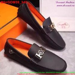 Giày mọi da nam phối chữ H sành điệu sang trọng GDM59