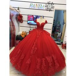 áo cưới tay con đỏ tươi đuôi dài chân ren sang trọng
