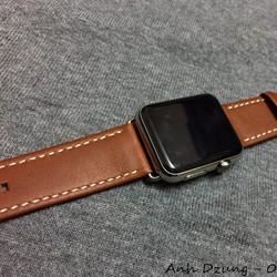 Dây đeo da thật cho Apple watch brown 3 - tặng dán màn hình full viền