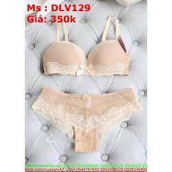Sét đồ lót nữ phối viền ren sành điệu chất liệu êm DLV129
