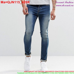 Quần jean nam màu xanh bạc sành điệu QJN115