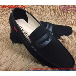 Giày mọi da nam màu đen thiết kế sang trọng GDM63