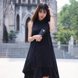 Đầm suông đen xéo tà