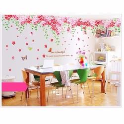 Decan dán tường phủ hoa hồng