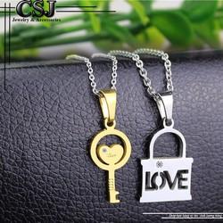Dây chuyền cặp inox ổ chìa khóa màu trắng +vàng
