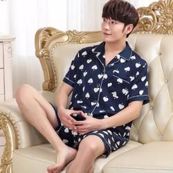 Bộ ngủ nam mặc nhà tay ngắn quần ngắn chất lụa họa tiết 2017 - NG632