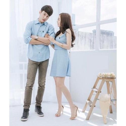 Set áo váy xanh ngọc ngọt ngào