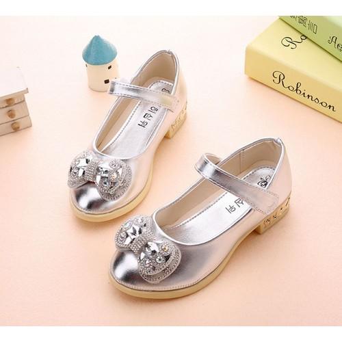 Giày búp bê Hàn Quốc nơ màu bạc sang chảnh