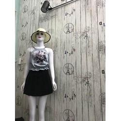 Set Áo hoa 3D chân váy xếp li 0062