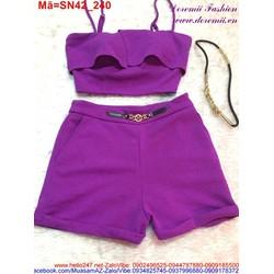 Set áo 2 dây quần short phối nịt kiểu màu tím trẻ trung SN42