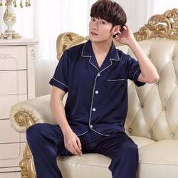 Bộ ngủ Pijama nam ngắn tay quần dài chất lụa 2017 - NG625
