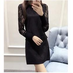 Đầm nữ dài tay dáng suông, tay phối ren hiện đại, độc đáo-D10891628