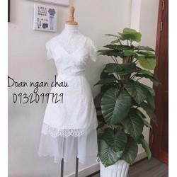 Đầm xoè ren tay con phối lưới _MỎ CHU SHOP