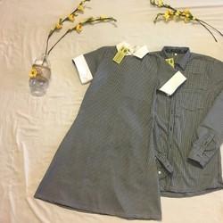 Set áo váy cặp ngắn tay đơn giản