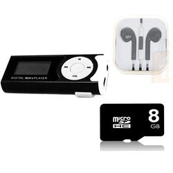 Máy nghe nhạc MP3 LCD Đen kèm thẻ nhớ 8gb và tai nghe IP đen
