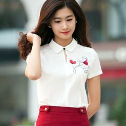Hàng thiết kế áo sơ mi nữ hoa thêu-SM104