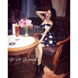 Đầm xoè lệch vai ngôi sao _MỎ CHU SHOP