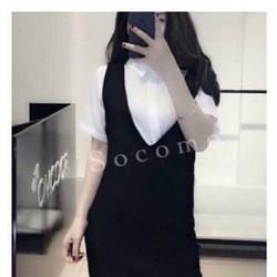 Sét áo sơ mi voan + yếm suông sẻ so hot