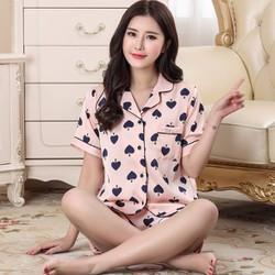Bộ ngủ nữ mặc nhà tay ngắn quần ngắn chất lụa họa tiết 2017 - NG631