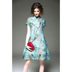 Đầm suông voan họa tiết KL11617