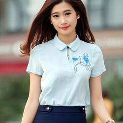 Hàng thiết kế áo sơ mi nữ hoa thêu-SM105