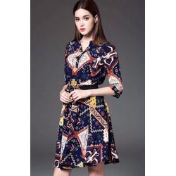 Đầm xoè sơ mi hoạ tiết thổ cẩm