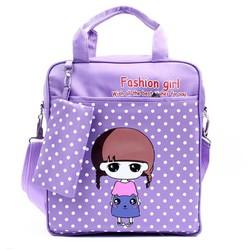 Túi xách đi học búp bê Chibi dể thương kèm túi dụng cụ học tập