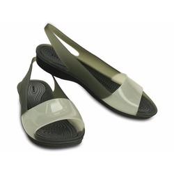 Giày sandal crocs colorblock flat màu đen