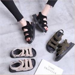 Giày sandal bánh mì da lộn 3 quai | giày sandal nữ đế bánh mì