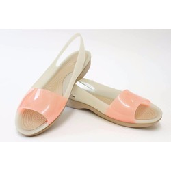 Giày sandal crocs colorblock flat màu be