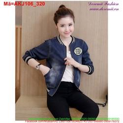 Áo khoác jean nữ cổ viền thun tay bo trẻ trung năng động AKJ106