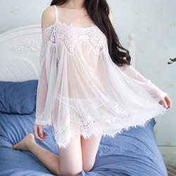 Váy ngủ trắng ren tay dài vai trễ quyến rũ TK813
