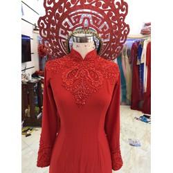 áo dài cươi đỏ ren gân nổi