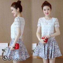 Sét váy áo ren chân váy hoa cúc