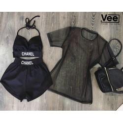 Set bikini kèm áo khoác ngoài sành điệu OP70